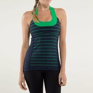 Lululemon Scoop Neck Tank Top Green Striped Size 8